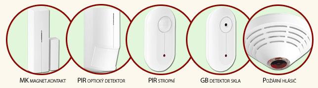 detektory OASIS - magnetický kontakt, PIR, detektor skla